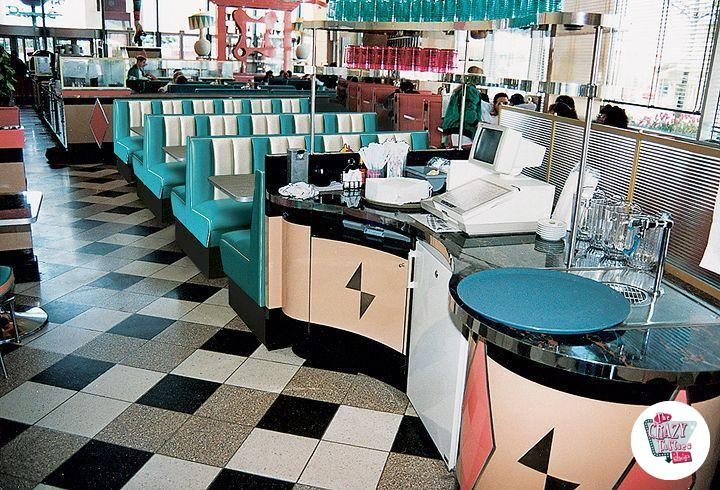 Retro American Diner benk 4 Simple Squares