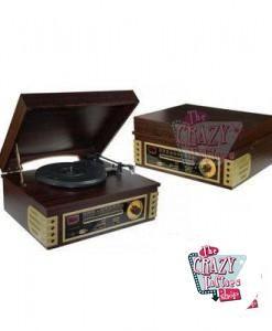 Tocadiscos Retro Madera Radio-CD-USB
