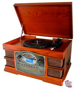 Vinyl 33 45-78-RPM. Diamond nål. CD-spiller, USB, SD-kort, opptaksfunksjon.