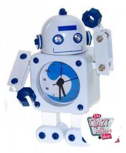 Reloj Despertador Retro Robot Blanco
