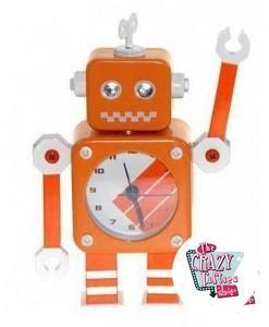Reloj Despertador Retro Robot Naranja