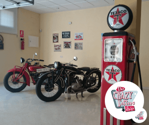 gas pump texaco and indian motorcycle