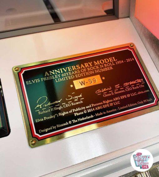Assiette Jukebox Rock-ola Elvis Limited Edition