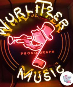 Original Neon Wurlitzer Music Poster