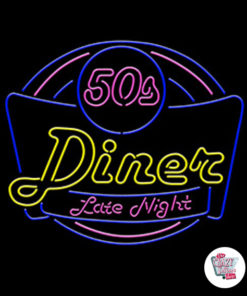 Neon 50s Diner Late Night Poster