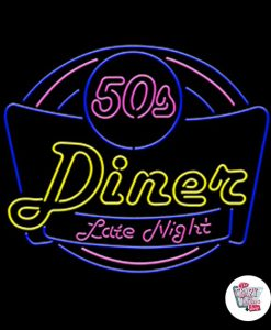 Retro Neon Sign 50s Diner Late Night