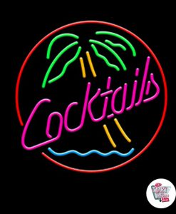 Retro Neon Sign Cocktails With Palm
