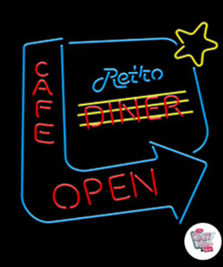 Insegne Neon Retro Diner Cafe Open