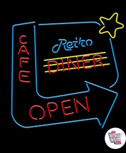 Retro Neon Sign Diner Cafe Open