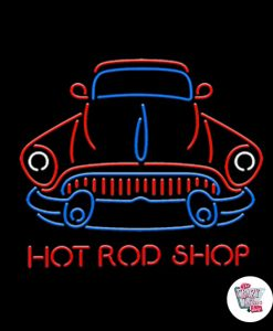 Retro Neon Sign Hot Road Shop