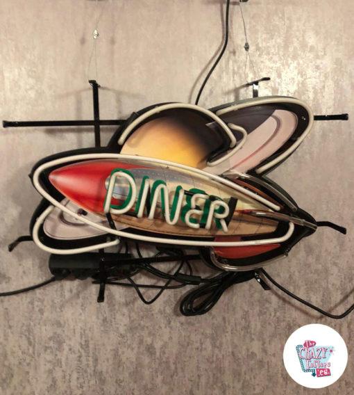 Neon Diner Rocket Space plakat slukket