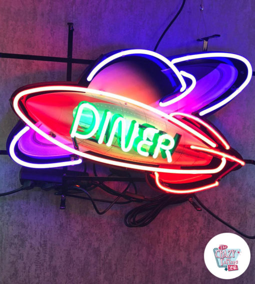 Neon Diner Rocket Space Sign On