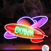 Neon Retro Diner Rocket Space