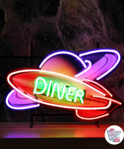 Neon Diner Rocket Space Affisch