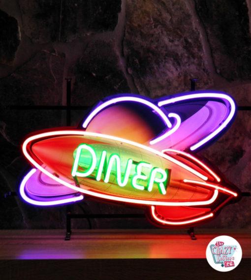 Neon retro Diner Rocket Space