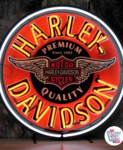 Neon Retro Harley-Davidson Circle