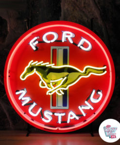 Poster Neon Ford Mustang yellow