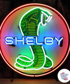Neon Shelby Cobra poster red