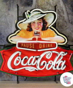 Neon Coca-Cola Pause Drink Standing Off Poster