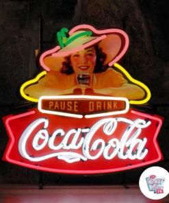 Neon Coca-Cola Pause Drink Poster