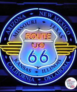 Neon Route 66 Alle stater XL På skilt