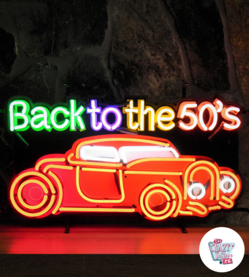 Neon Back To The Fifties Car Poster
