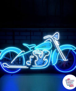 Neon Motorcycle Poster Harley Davidson on