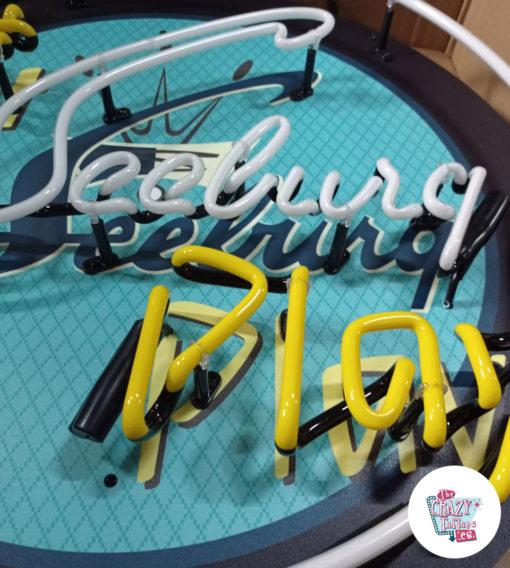 Cartel Neon Let Seeburg play Jukebox detalles apagado