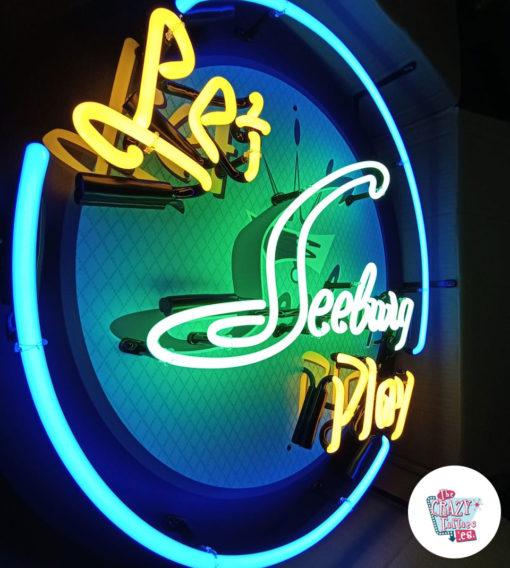 Cartel Neon Let Seeburg play Jukebox luces encendidas