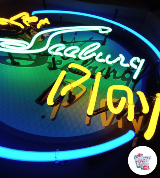 Cartel Neon Let Seeburg play Jukebox detalle