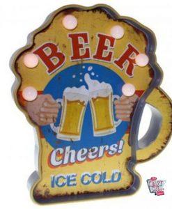 Cartel Luminoso Vintage Cerveza