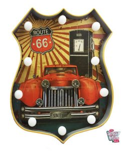 Cartel Luminoso Vintage Route 66 coche