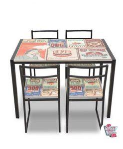 Retro-Set 4 Retro-Tisch mit Stühlen