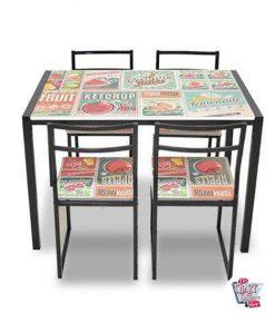 Tabelle stellte mit 4 Vintage Stühle Jahrgang