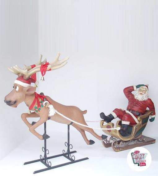 Figura Decorazione Natale Babbo Natale in Sleigh
