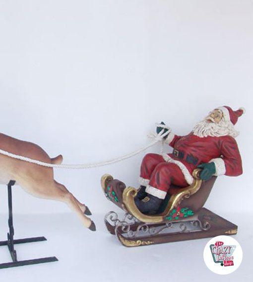 Figura Decoración Navidad Trineo de Papa Noel