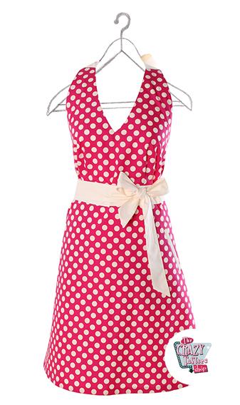 Vintage Apron Polka Dots Raspberry Standard