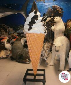 Ice Cream Sundae Cone Dekoration Figur fløde og chokolade