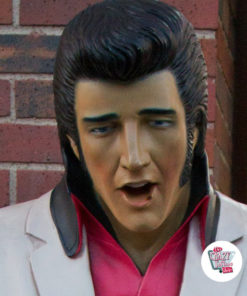 Figur Dekor Singing Elvis American Hvit