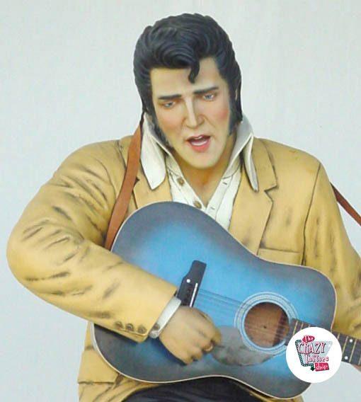 Figura Decoração Sitting Elvis guitarra