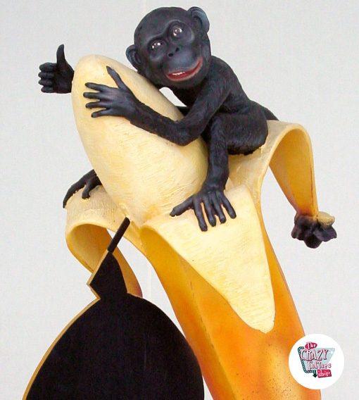 Figura Decoração macaco com banana e ardósia