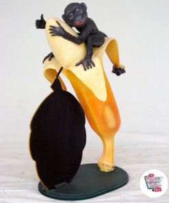 Figur Decoration Monkey med banan og skifer