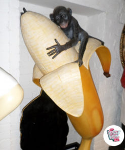 Figure Decoration Monkey with Banana and slate