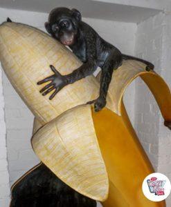 Figur Dekor Monkey med banan og skifer