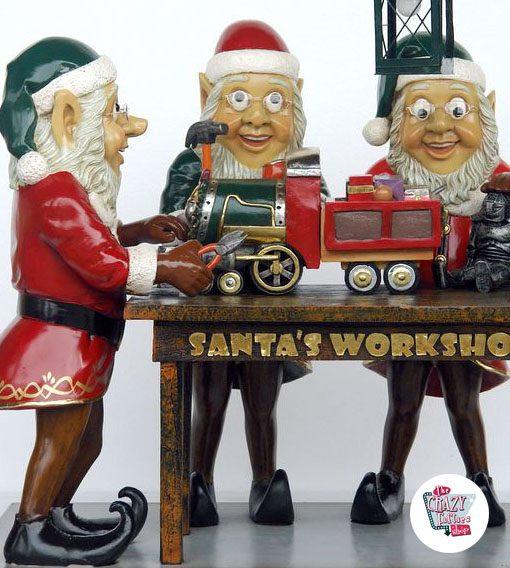 Figura Decoración Navidad Duendes Papa Noel Trabajando