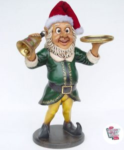 Figure Elf décoration de Noël avec Bell et plateau