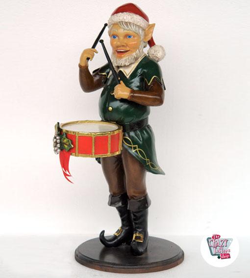 Figura Decoración Navidad Elfo con Tambor