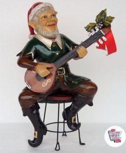 Decorazione di figura Natale Elfo seduto con la chitarra