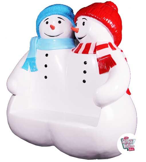 Figura Decoración Navidad Muñeco de Nieve Banco