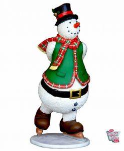Figura Decoración Navidad Muñeco de Nieve Patinando